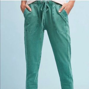 Anthropologie Cropped Green Cotton Joggers